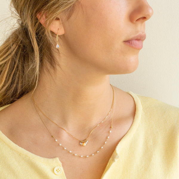 Oval Freshwater Pearl Tied Necklace
