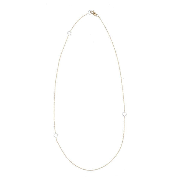 SILVER & GOLD DELICATE CHAIN & SQUARE NECKLACE - Anne Sportun Fine Jewellery