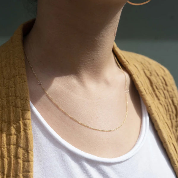SILVER & GOLD DELICATE CHAIN & SQUARE NECKLACE