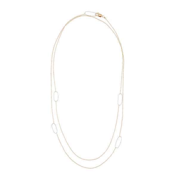 LONG RECTANGLE & DELICATE CHAIN NECKLACE