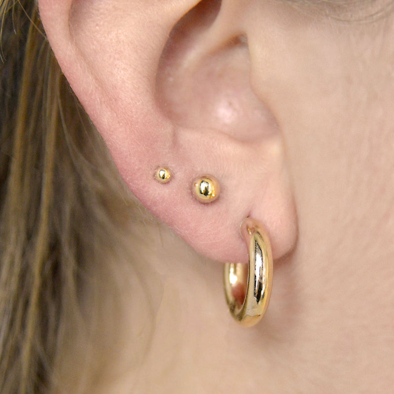 BALL STUD EARRING - 3MM - 14K YELLOW OR WHITE GOLD