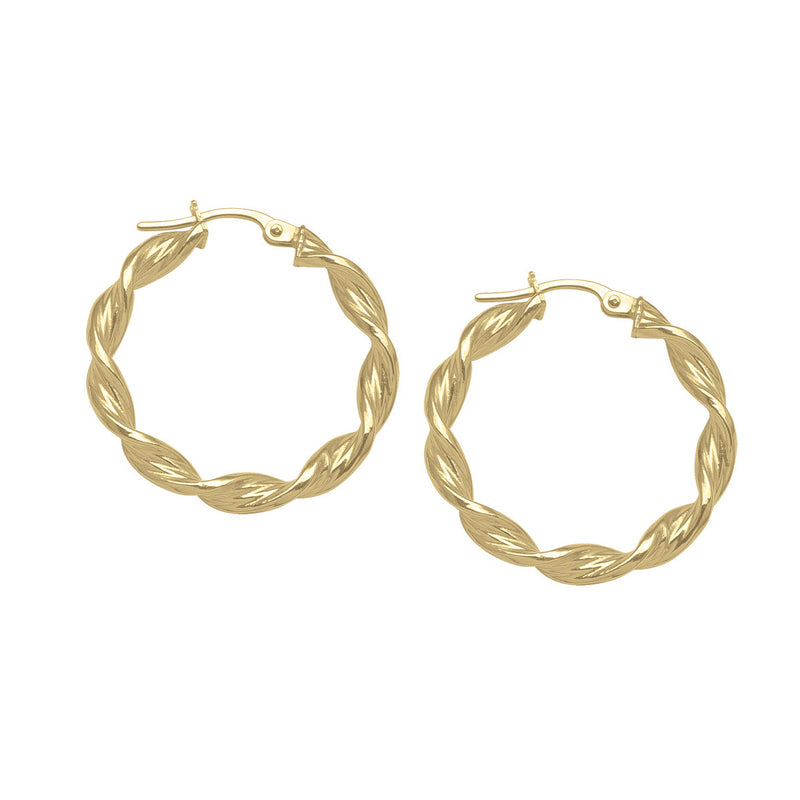 TWISTED HOOP EARRINGS - 14K YELLOW