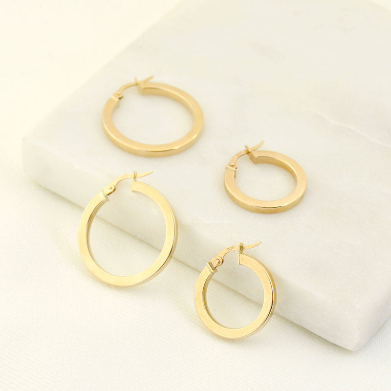 SQUARE TUBE HOOP EARRINGS - SMALL - 10K YELLOW
