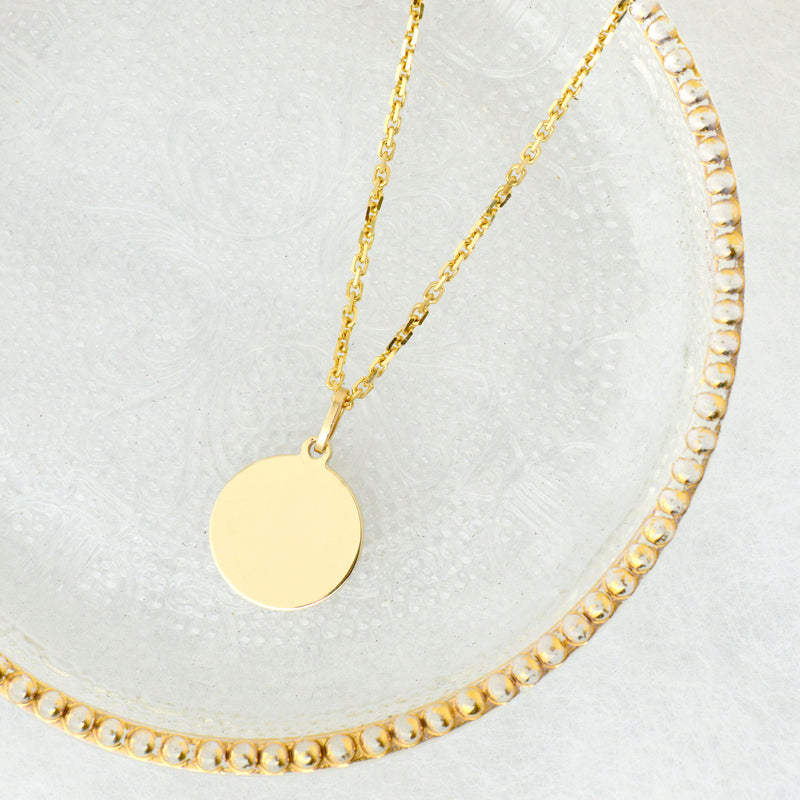 14K YELLOW GOLD 14MM ROUND TAG PENDANT