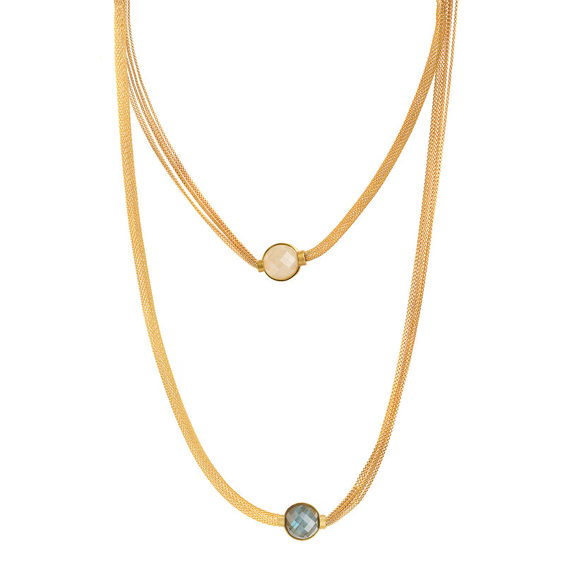 Mesh Armour Layer Necklace - Moonstone & Labradorite