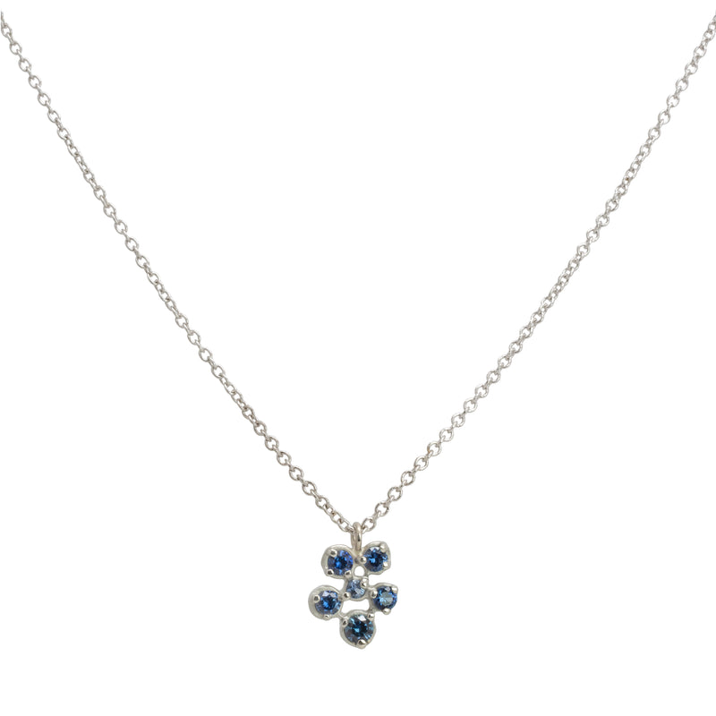 Small Flower Cluster Blue Sapphire Festival Necklace