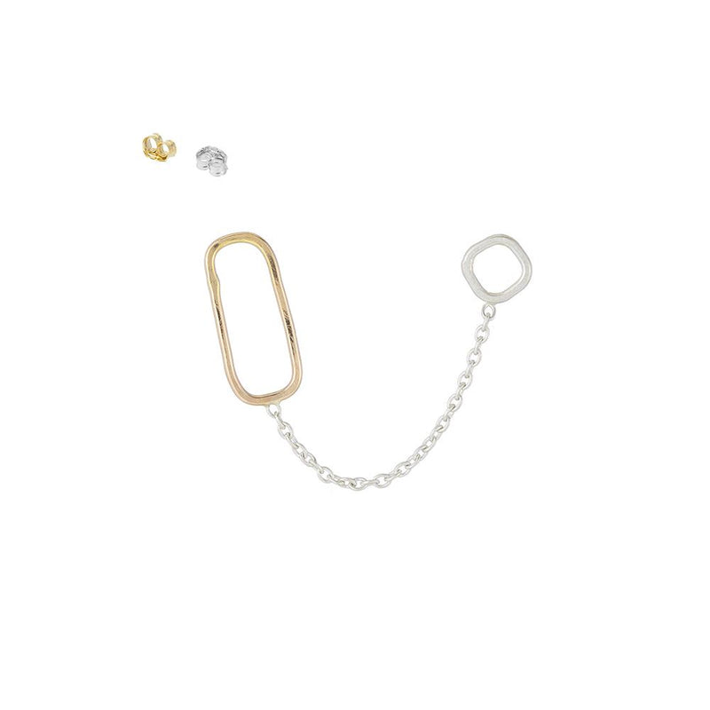 SQUARE, RECTANGLE & CHAIN DOUBLE POST EARRING SINGLE - Anne Sportun Fine Jewellery