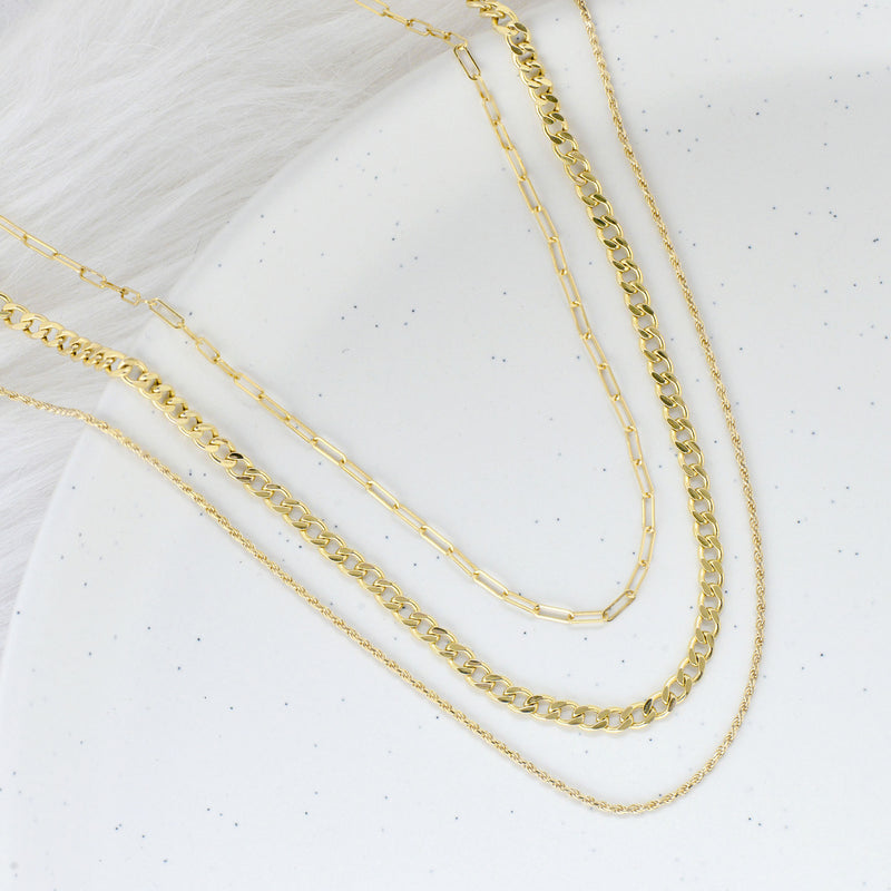 10K YELLOW GOLD SOLID DIAMOND CUT ROPE LINK