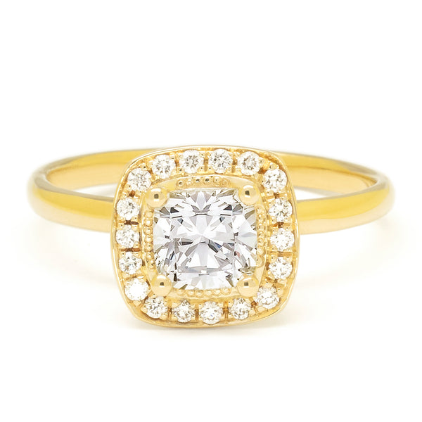 Brilliant 0.741ct Cushion Diamond with Pave Halo