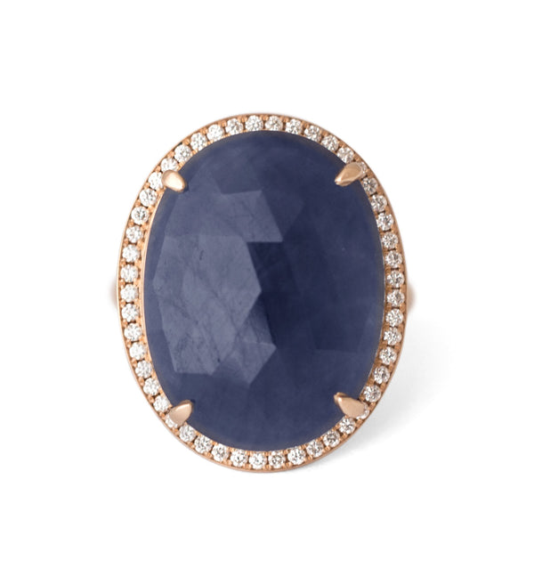 Rosecut Oval Blue Sapphire Diamond Halo Ring - Anne Sportun Fine Jewellery