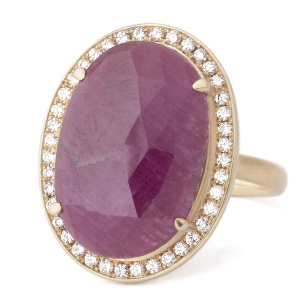 Oval Rosecut Ruby Diamond Halo Ring - Anne Sportun Fine Jewellery Toronto, Canada, and U.S.