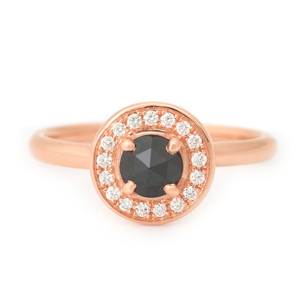 One of a Kind Rose Gold Black Diamond Ring
