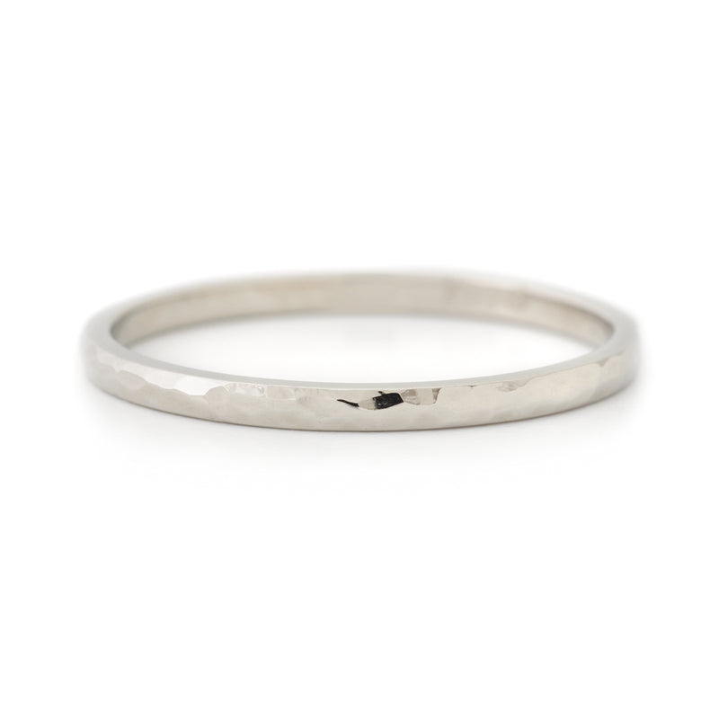 Rounded Hammered Top Band - Anne Sportun Fine Jewellery
