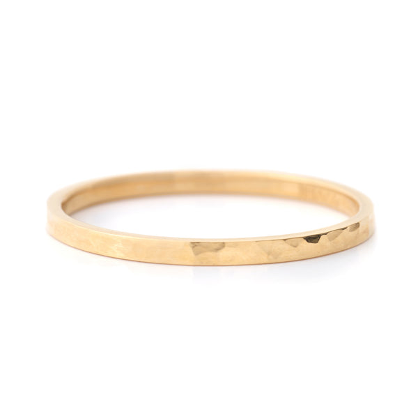 Thin Straight Edge Hammered Band - Anne Sportun Fine Jewellery Toronto, Canada, and U.S.