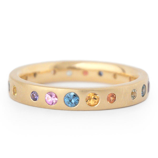Multi-Colour Gypsy Set Sapphire Band - Anne Sportun Fine Jewellery