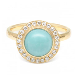 Turquoise Cabochon Diamond Halo Ring - Anne Sportun Fine Jewellery