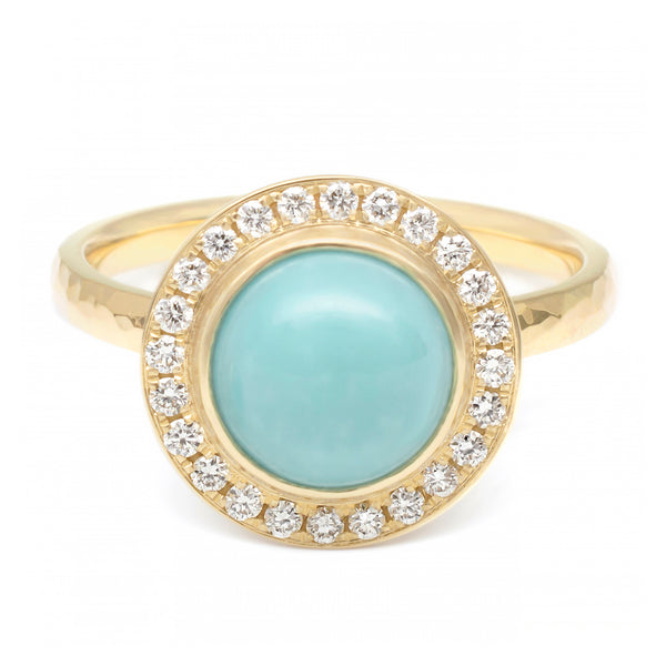 Turquoise Cabochon Diamond Halo Ring - Anne Sportun Fine Jewellery Toronto, Canada, and U.S.