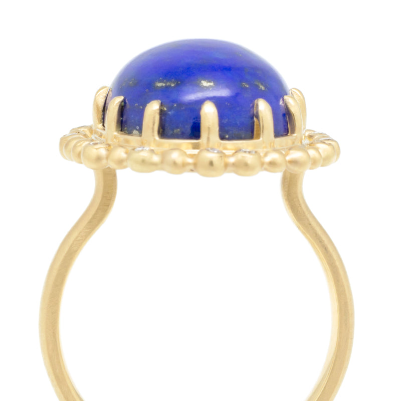 Seed Scalloped Diamond Halo Lapis Ring - Anne Sportun Fine Jewellery Toronto, Canada, and U.S.