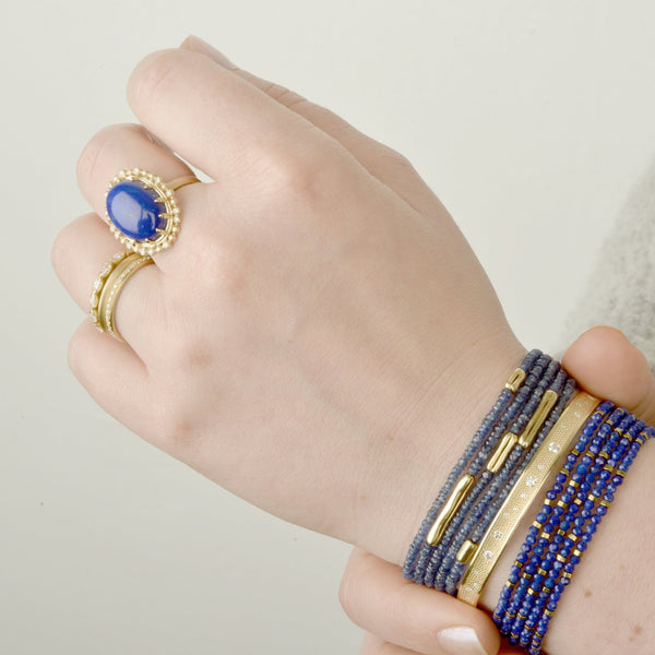 Seed Scalloped Diamond Halo Lapis Ring - Anne Sportun Fine Jewellery