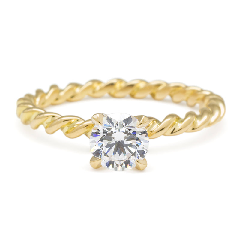 Solitaire Bridal Mount W/ Twsited Rope Band - Anne Sportun Fine Jewellery