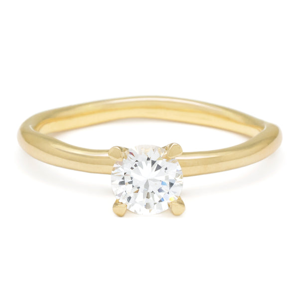 Solitaire Bridal Mount with Wonky Band - Anne Sportun Fine Jewellery