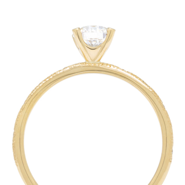 Solitaire Bridal Mount with Stardust Wonky Band - Anne Sportun Fine Jewellery