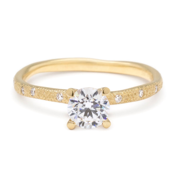 Solitaire Bridal Mount with Stardust Wonky Band - Anne Sportun Fine Jewellery Toronto, Canada, and U.S.