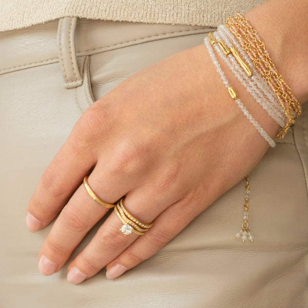 Gold Tied Gemstone Wrap Bracelet