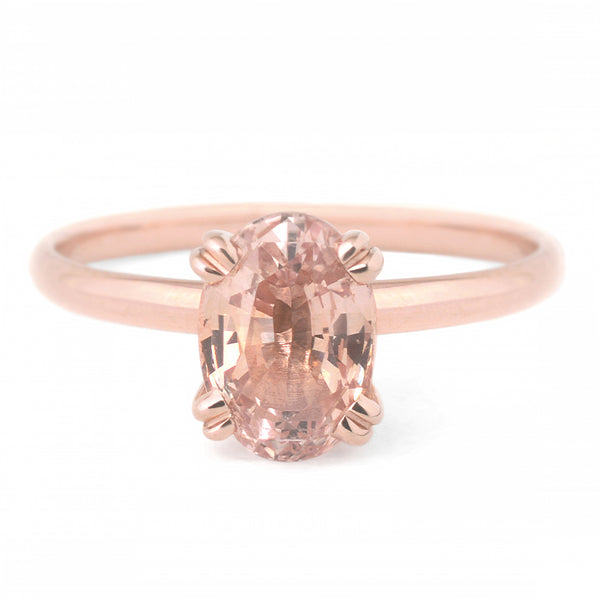 One of a Kind Oval Peach Sapphire Ring - Anne Sportun Fine Jewellery