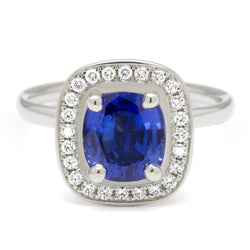 Cushion Blue Sapphire Engagement Ring