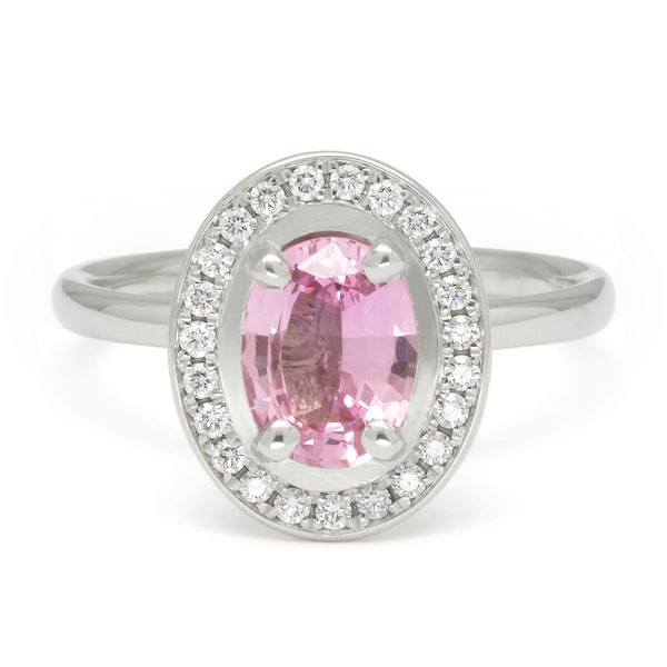 One of a Kind Oval Pink Sapphire Ring with Diamond Halo