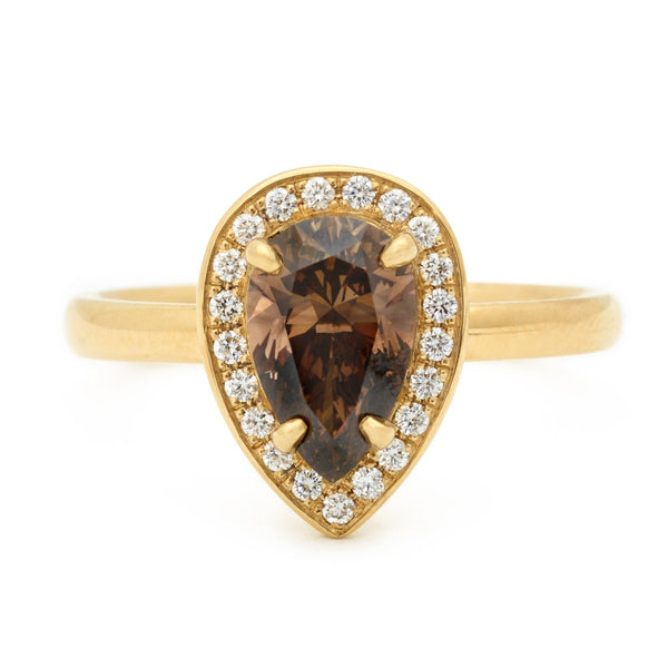 One of a Kind Cognac Pear Diamond Ring - Anne Sportun Fine Jewellery Toronto, Canada, and U.S.