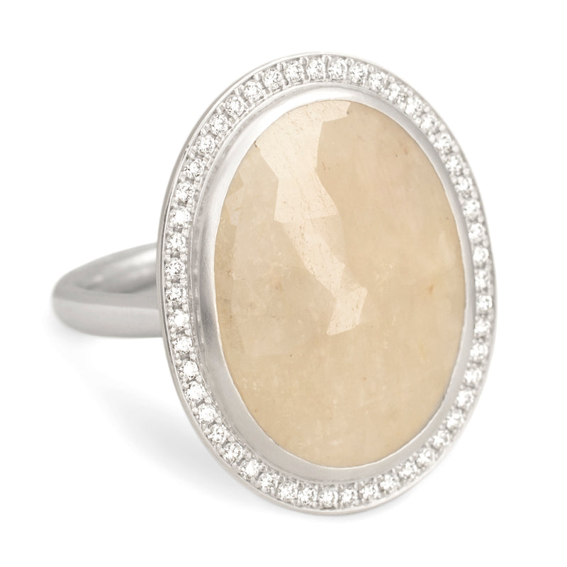Beige Oval Rosecut Sapphire Ring