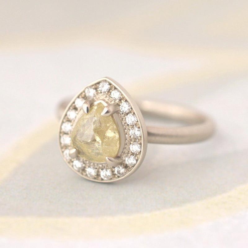 One of a Kind Yellow Pear Rose-cut Diamond Ring - Anne Sportun Fine Jewellery