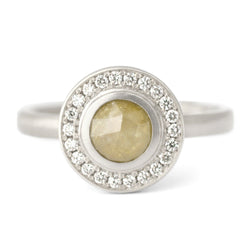 One of a Kind Yellow Round Rosecut Diamond Ring - Anne Sportun Fine Jewellery