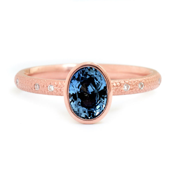 One of a Kind Blue Brilliant Cut Sapphire Ring - Anne Sportun Fine Jewellery