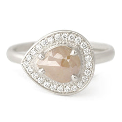 One of a Kind Caramel Pear Rose Cut Diamond Ring - Anne Sportun Fine Jewellery