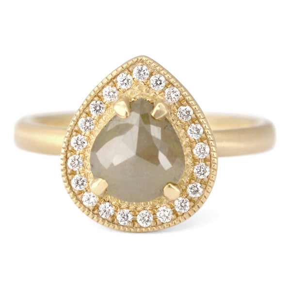 One of a Kind Green/Grey Pear Diamond Ring - Anne Sportun Fine Jewellery