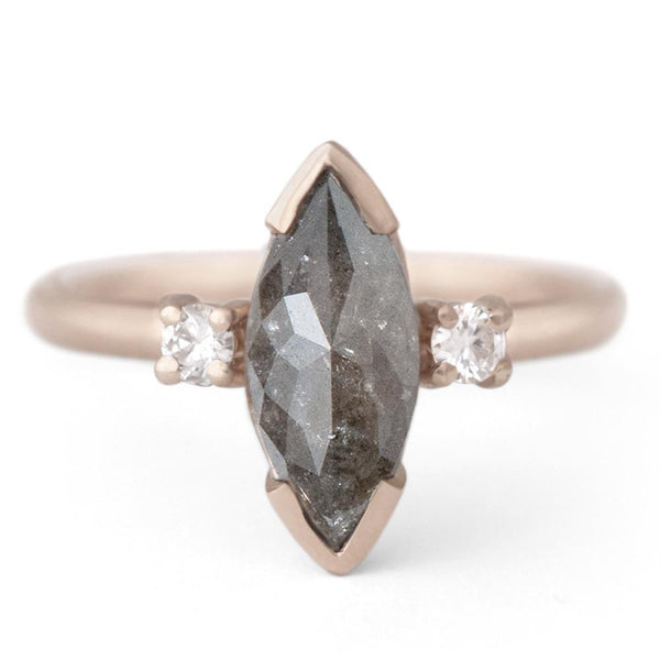One of a Kind Dark Grey Marquise Diamond Ring - Anne Sportun Fine Jewellery