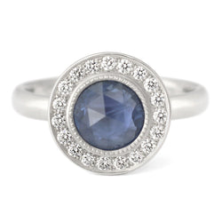 One of a Kind Bezel Set Blue Sapphire Ring - Anne Sportun Fine Jewellery Toronto, Canada, and U.S.