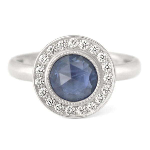 One of a Kind Bezel Set Blue Sapphire Ring - Anne Sportun Fine Jewellery