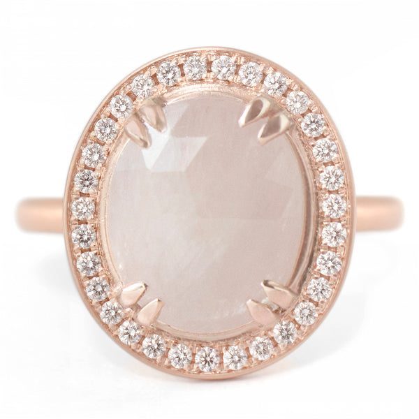 One of a Kind Oval Peach Sapphire Ring - Anne Sportun Fine Jewellery Toronto, Canada, and U.S.