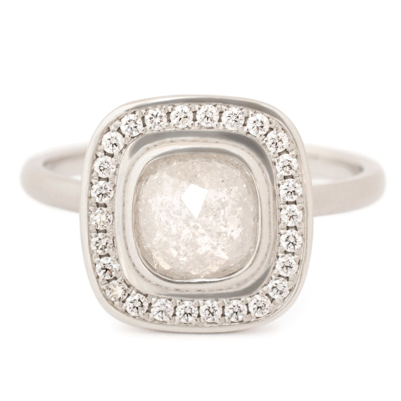 One of a Kind Raw Grey Cushion Diamond Ring