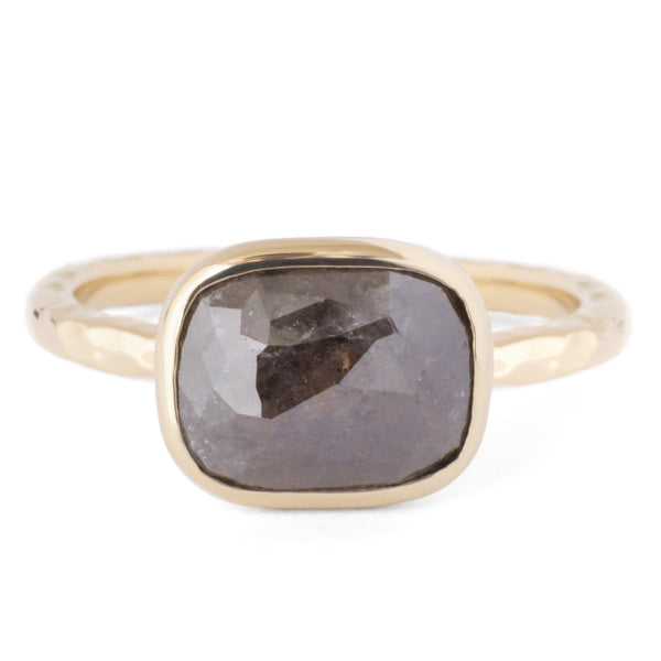 One of a Kind Bezel Set Brown Raw Diamond Ring - Anne Sportun Fine Jewellery