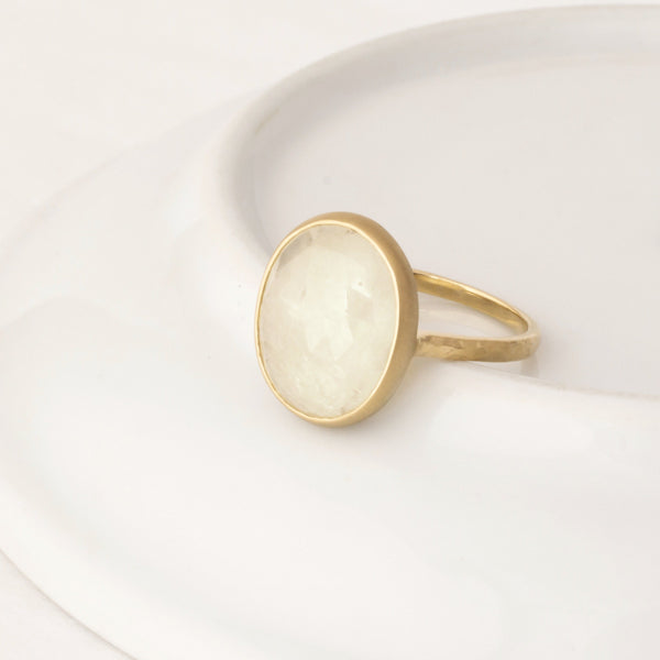 One of a Kind Cream Sapphire Hammered Ring - Anne Sportun Fine Jewellery