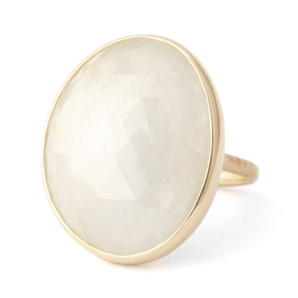 One of a Kind White Sapphire Hammered Ring - Anne Sportun Fine Jewellery Toronto, Canada, and U.S.