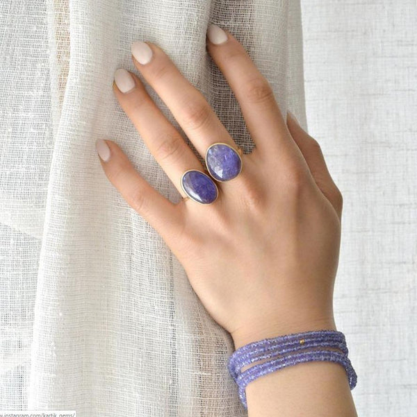 One of a Kind Cabochon Purple Tanzanite Ring - Anne Sportun Fine Jewellery