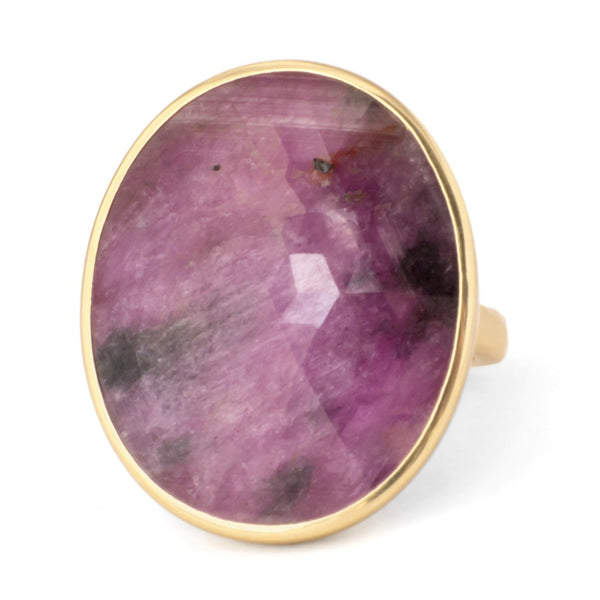 One of a Kind Mottled Pink Sapphire Ring - Anne Sportun Fine Jewellery