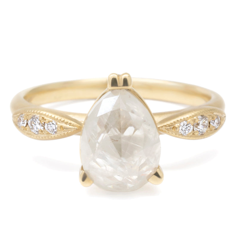 Pear Diamond Ring W/ Pave Marquise Shape Ring - Anne Sportun Fine Jewellery Toronto, Canada, and U.S.