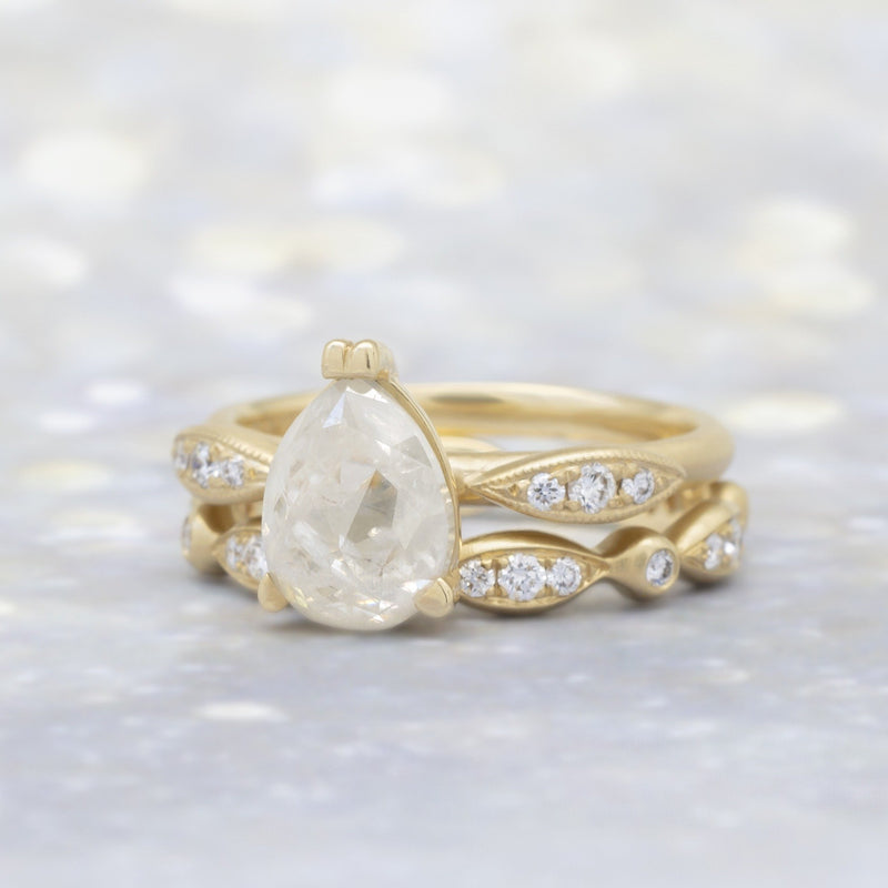 Pear Diamond Ring W/ Pave Marquise Shape Ring - Anne Sportun Fine Jewellery